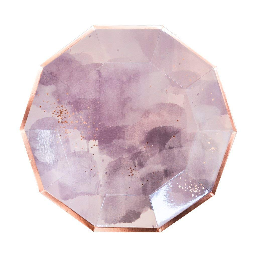 Light-Purple-Watercolor-w-Rose-Gold-Large-Paper-Plates