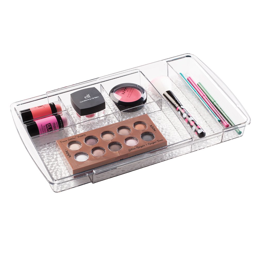 mDesign-Expandable-Makeup-Organizer---Clear