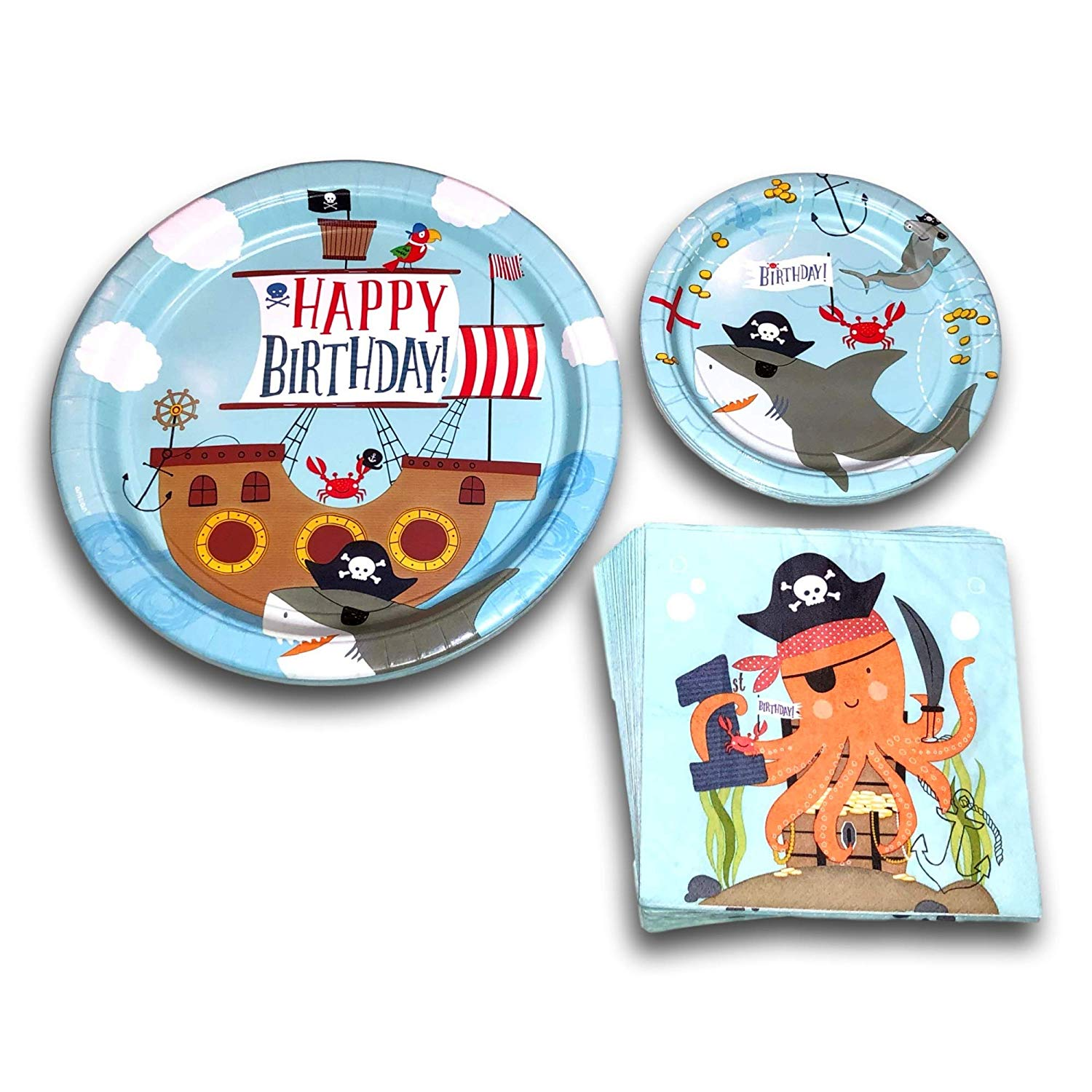 Pirate-Happy-1st-Birthday-Disposable-Paper-Plates