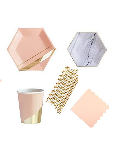 Pretty Peach Gold and Marble Deluxe Party Supply