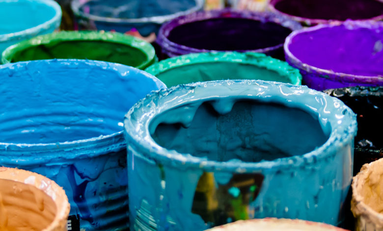 A variety of paint cans
