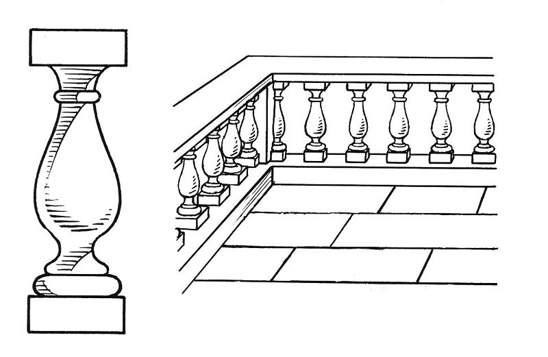 A line art drawing 0f a baluster and a balustrade