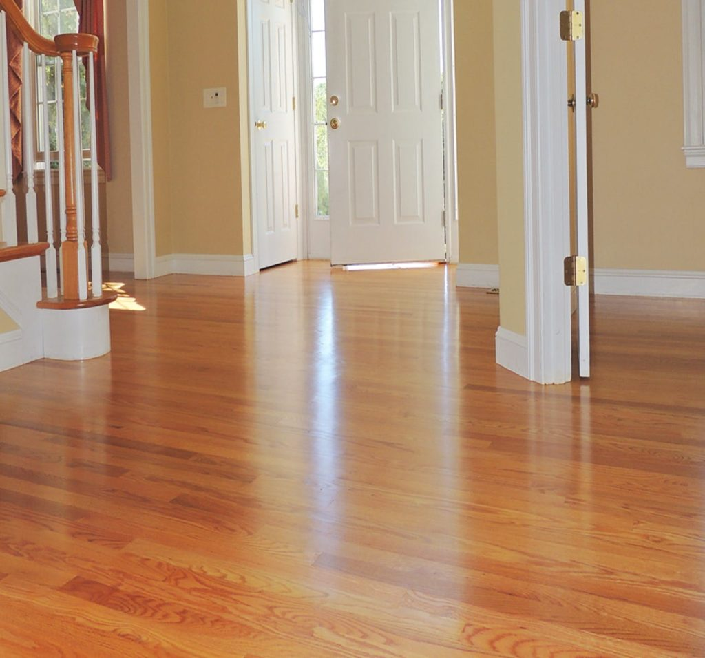 A home interior with hardwood floor