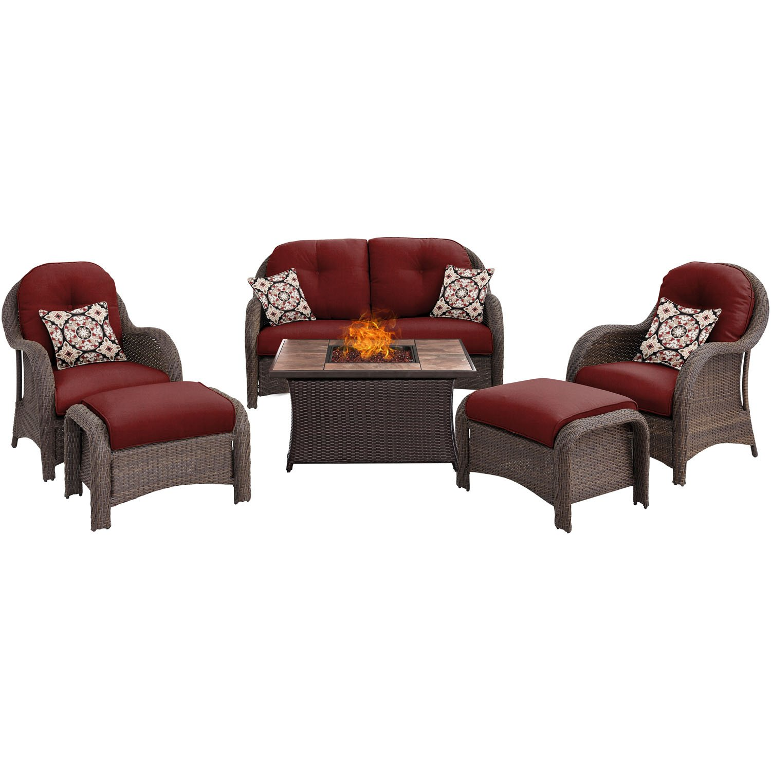 Hanover NEWPT6PCFP RED TN Newport 6 Piece Woven Seating Set Table Outdoor Furniture