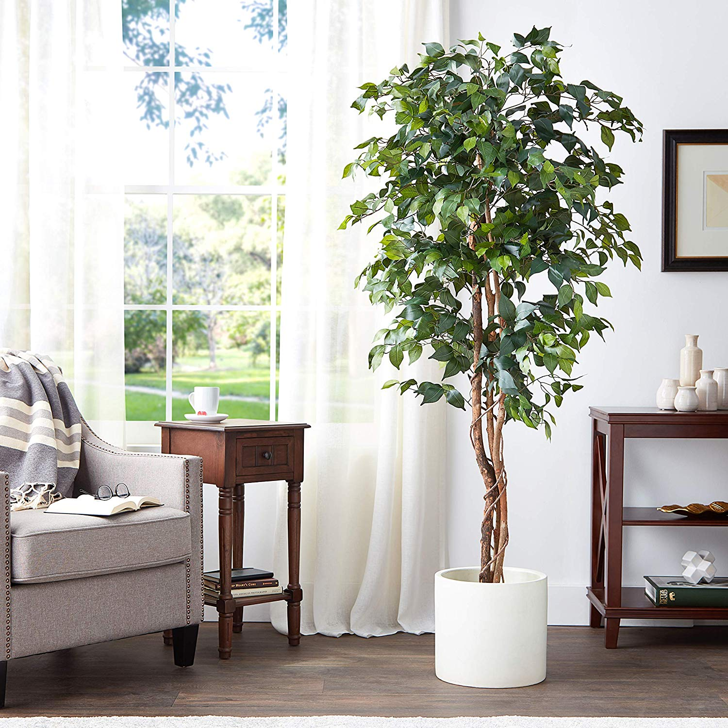 Nearly Natural 6ft Ficus Tree 6  Green