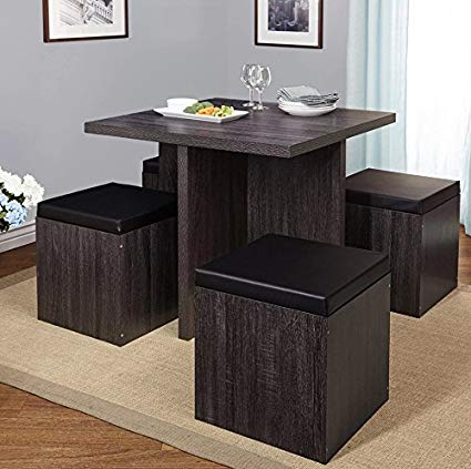 Simple-Living-5-piece-Baxter-Dining-Set-with-Storage-Chair-Ottomans-Black-Grey-