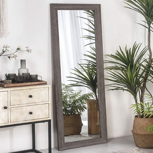 RHF Full Length Mirror, Rustic Wood Framed Floor Mirror, Farmehouse Chic Decorative Wall Mirror, Vertical and Horizontal Wall Mounted Mirror for Living Room Bedroom, 63 x 22 Inch Gray