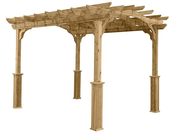 Suncast 10  x 12  Wood Pergola - Open Stable Pergola Perfect for Outdoor Settings, Backyards, Gardens, Patio BBQs, Outdoor Party